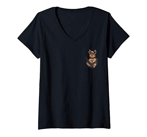 Womens Women Tiny dog funny cute - Yorkie in the pocket love dog V-Neck T-Shirt