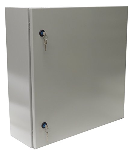 Yuco YC-24X20X12-EL-2-KF IP66 Enclosure, UL Certified, Nema 4, 16 Gauge, Single Door Hinge Cover, Wall-Mount, Standard Gray, Backplate, Gland Plate, Lock and Key (24 x 20 x 12) by Yuco