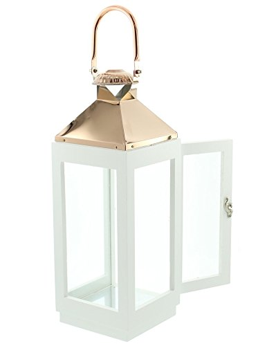 PierSurplus 16.5 in. Copper Top White Wooden Candle Lantern with Rose Gold Hanging Loop - Large Product SKU: CL111853 by PierSurplus (Image #4)
