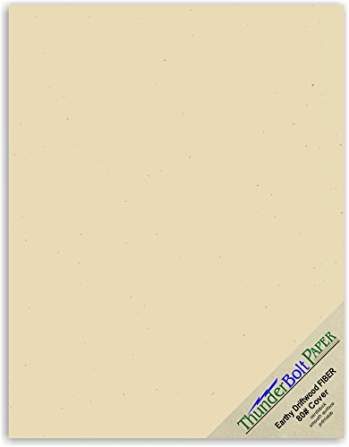 50 Earthy Driftwood Tan Fiber 80# Cover Paper Sheets - 8.5