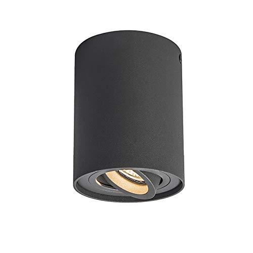QAZQA Modern Spot antraciet draai- en kantelbaar – Rondoo 1 up Aluminium Cilinder Geschikt voor LED Max. 1 x 50 Watt