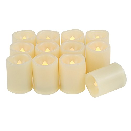 """Qidea Battery Operated Flameless LED Votive Candles with Timer Flickering Electric Decorative Decor Fake Candle Lights for Halloween Christmas Wedding Party Event, 1.5""""x2"""",12-Pack, Batteries Included"""