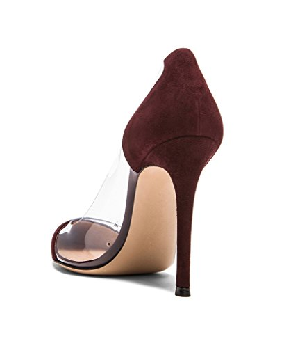 Aiguille Chaussures Burgundy Escarpins Transparent 35 Talon Taille 45 120mm Femmes À Edefs Stilettos UAXqxHwU