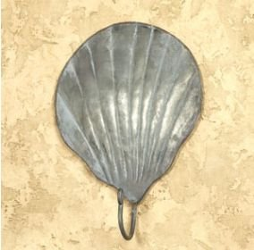 Vintage Tin Scallop Shell Wall Hook for Light Coats, Aprons, Hats, Towels, Pot Holders, More