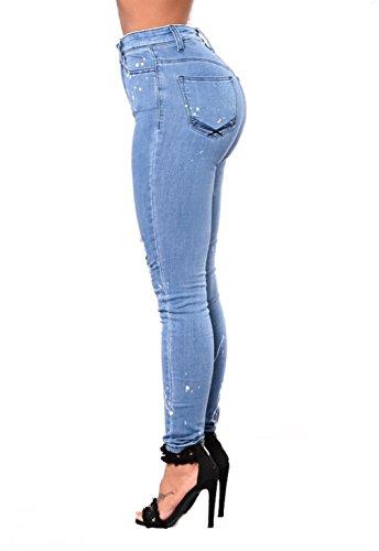 para De Jeans Mujer Pitillo Pantalones Lightblue Elásticos Mezclilla Jeans Los Destruyen wUqqt7