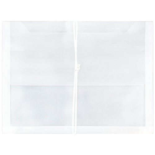 Plain Expansion Envelopes - JAM PAPER Plastic Expansion Envelopes with Elastic Band Closure - Letter Booklet - 9 3/4 x 13 with 2.5 Inch Expansion - Clear - 12/Pack