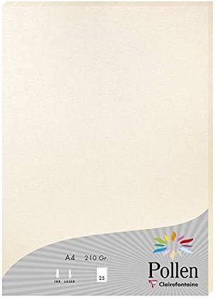 Clairefontaine 24386C Packung mit 25 Blatt Pollen, DIN A4, 210 x 297 mm, 210g, Perlmutt Elfenbein