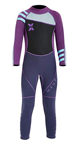 2.5mm Neoprene Dive Skin for Little Girls UV Protection One Piece Kids Wetsuit Quick Dry Swimmwear for Scuba Diving Swimming 4-5T - Purple Thermal