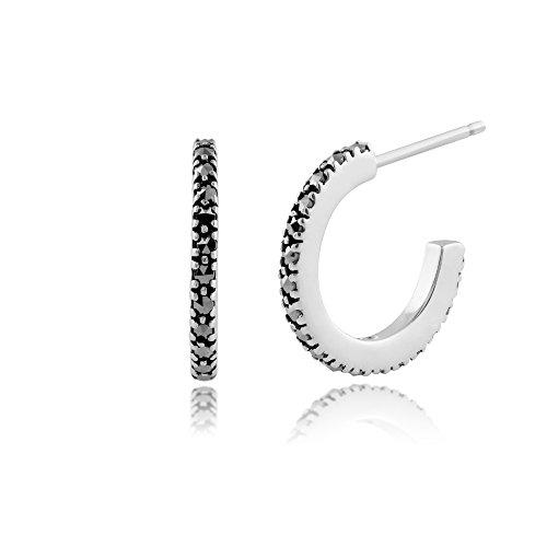 - 925 Sterling Silver Marcasite Half Hoop Stud Earring