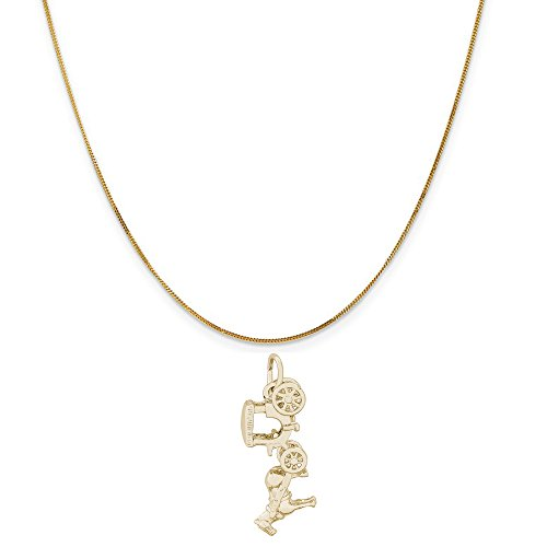 Rembrandt Charms 14K Yellow Gold Horse and Carriage Charm on a Curb Chain Necklace, 16