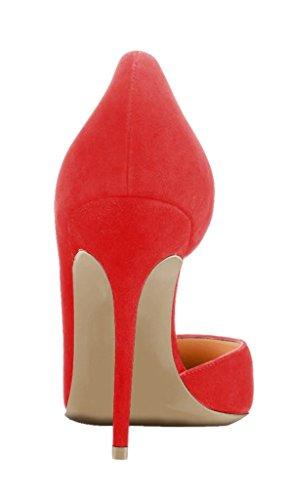 ... Kolnoo Damen Stiletto Spitz Zehen Dorsay High Heel Pumps Größe Rot ... df83c6b281