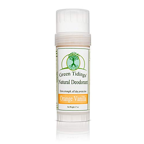 Green Tidings Natural Deodorant - Orange Vanilla 2.7 oz. - Extra Strength, All Day Protection - Vegan - Cruelty-Free - Aluminum Free - Paraben Free - Non-Toxic - Solid Lotion Bar Tube