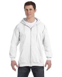 Ca Man Hoody - Hanes mens 9.7 oz. Ultimate Cotton 90/10 Full-Zip Hood(F280)-White-L