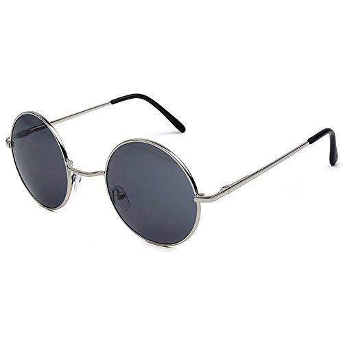 Rond Gris hibote Retro soleil Femme de Lunettes Lens Eyewear New Glasses Homme Colorful Cadre Argent qvqrx1F6