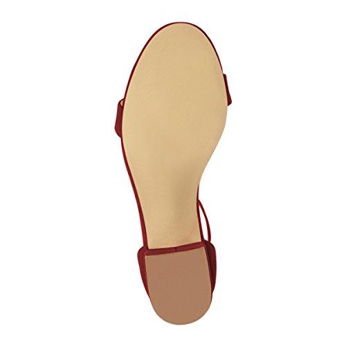 Fsj Sandali Donna Estate Cinturino Alla Caviglia Open Toe Tacco Basso Confortevole Scarpe Da Passeggio Misura 4-15 Us Vino Scamosciato