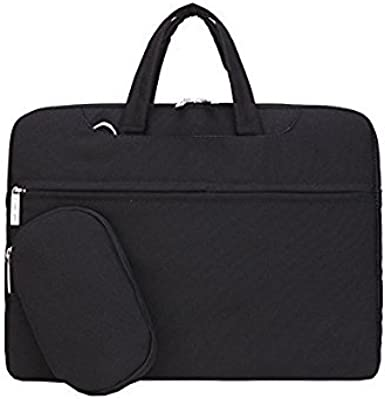 Black Small Leather 13-inch Laptop Briefcase Solid Multi-Compartment