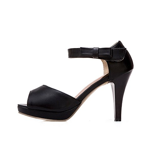 Spikes B US Urethane Pumps BalaMasa Black Stilettos and Loop 7 Womens Toe Hook Peep Shoes M ASL04228 qqxwyaIp6C