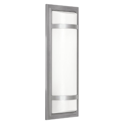 Kichler 11115MSI Energy Efficient 2LT 20IN Energy Efficient Wet Location Indoor/Outdoor Wall Sconce, Matte Silver Finish with Alabaster Swirl Glass