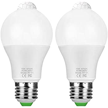 Sunnest Motion Sensor Light Bulbs, 10W E26 Motion Activated Dusk to Dawn LED Light Bulbs Motion Sensor Bulb Outdoor/Indoor for Front Door Porch Garage ...