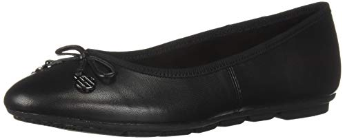 (Hush Puppies Women's Abby Bow Ballet Flat, Black Leather, 12 M US)