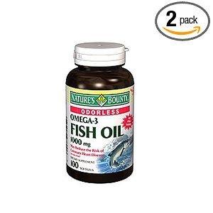 Générosité de la nature oméga-3 d'huile de poisson, sans odeur, 1000mg, 100 gélules (Pack de 2)