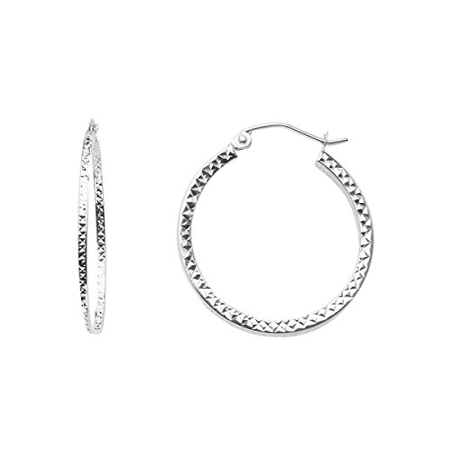 14K White Gold Full Diamond Cut Hollow Square Tube Hoop Earrings - (Diameter - 24 MM) by Top Gold & Diamond Jewelry