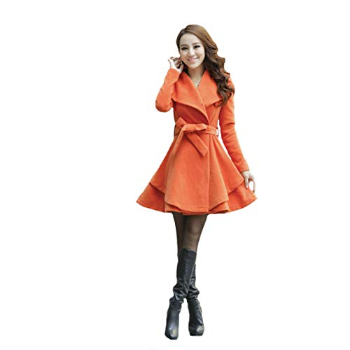 Chaqueta 1pcs De Para Coat Orange Manga Larga Y Talla Trench Mujer Grande YUwqvq