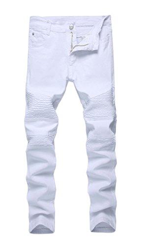 Kihatwin Big Boys Fashion Biker Moto Ripped Distressed Skinny Slim Fit Jeans Denim Pants
