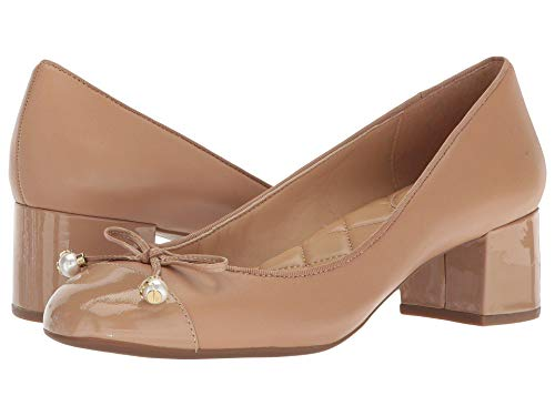 Michael Michael Kors Women's Gia Leather Cap Toe Mid Heel Pumps Toffee 8 M US