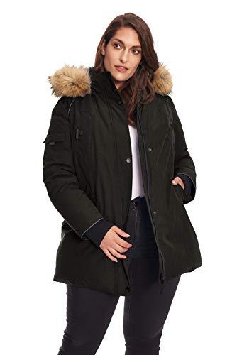 - Alpine North Size Womens Vegan Down Parka Winter Jacket Plus, Black, 2X