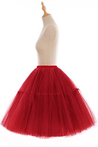 Babyonline Tutú a la rodilla para mujer (tul, enaguas) Rojo
