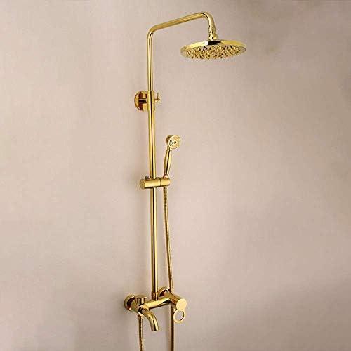 ZJN-JN 実用的なすべての銅金ヨーロッパの浴室のシャワーセットハンドヘルドシャワーシステムであり、加リフティングロッドサーキュラートップスプレーシャワーの蛇口3機能バンドビューティフル シャワーヘッド ホース セット システムバス