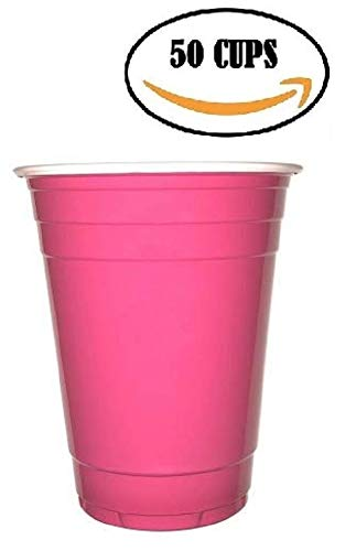 Goodtimes Big Party Pack 50 Count Disposable Plastic Cups, 16-Ounce (Pink-Fuschia)