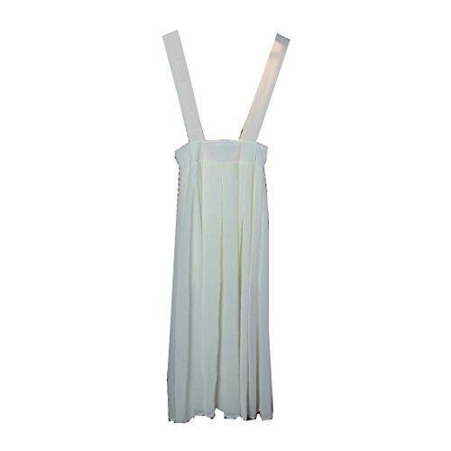 Kaxuyiiy Mujer gasa cintura elástica playa verano casual fiesta maxi plisada larga falda de los apoyos braces skirt Blanco