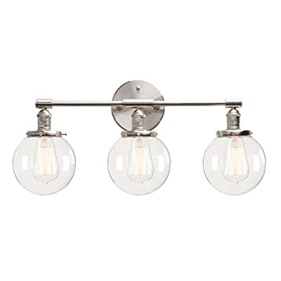 """Permo Vintage Industrial Antique Three-Light Wall Sconces with Mini 5.9"""" Round Clear Glass Globe Shade"""