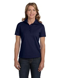 (Hanes Women's 7 oz Hanes STEDMAN Cotton Pique Polo, XL-Navy)