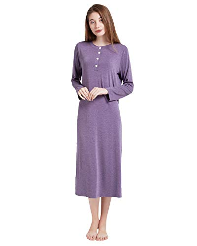 (ENIDMIL Womens Casual Loose Sleep Dress Cotton Knit Long Sleeves Nightgown (Purple, L))
