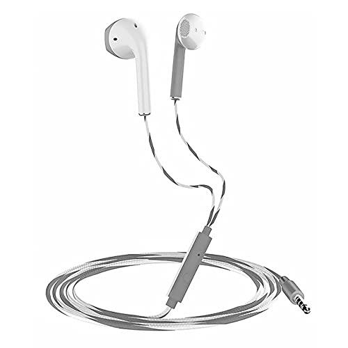 Kabelgebonden hoofdtelefoon met microfoon, 1,2 m sport in-ear oortelefoon, gevlochten draad, headset voor iOS en Android…