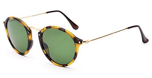 Retro Round Sunglasses Metal Frame Glass Circle Lens Men Women 2447 Vintage Style (Tortoise/Army Green)