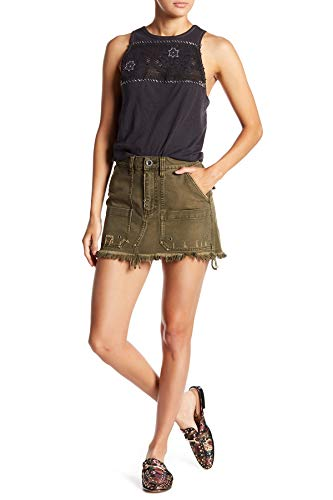 Free People Canvas Relaxed Mini Skirt Moss 28
