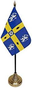 Flagmania® 12 Stück Durham (County) alte Tischflaggen & Goldfarbene Kunststoffkegel + 59 mm Button Badge