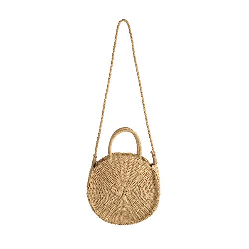 (Handwoven Straw Crossbody Purses and Handbags Tote with Strap Round Rattan Bag for Women Gift (Brown))