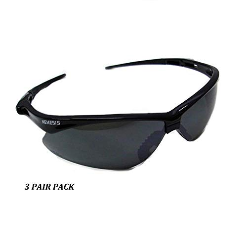 Jackson Safety V30 Nemesis Safety Glasses (25688), Smoke Mirror with Black Frame, 3-pack