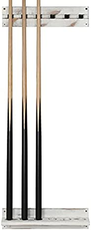 MyGift 6 Sticks Vintage Whitewashed Wood Billiards Pool Cue Wall Mount Rack with Clips