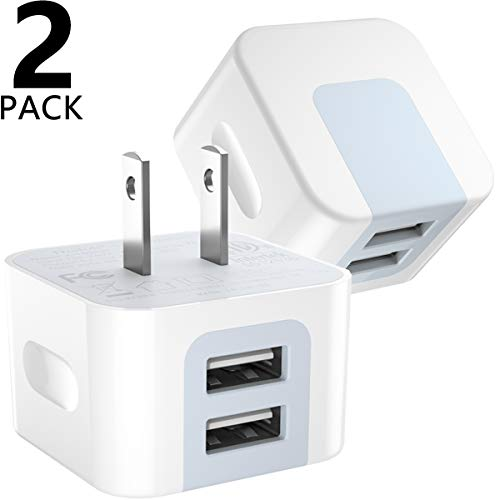 USB Wall Charger, USB Plug, Dodoli 2-Pack 2.4A Dual Port 12W Wall Charger Block Adapter Charging Cube Box Compatible iPhone Xs/XS Max/XR/X/8/8 Plus/7/6S/6S Plus, Samsung Galaxy, HTC, Moto.