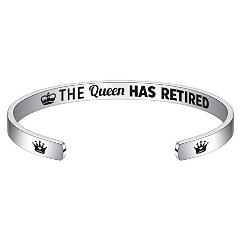 Retirement Gifts for Women Bracelet - Engraved The Queen Has Retired Bangle Bracelet Funny Retirement Retiring Gift Christmas Birthday Gifts for Women, Mom, Friend, Coworkers, Boss, Teacher Retiree
