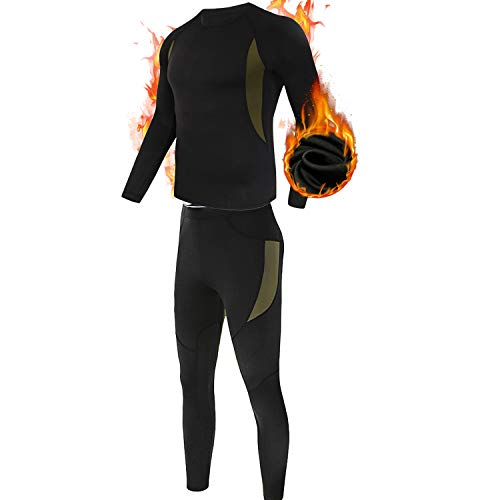 (Men's Thermal Underwear Set, ESDY Sport Long Johns Base Layer for Male, Winter Gear Compression Suits for Skiing Running Black)