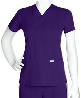 bf0c3223555 Image Unavailable. Image not available for. Color: Grey's Anatomy Junior's 3  Pocket Mock Wrap Scrub Top Purple ...