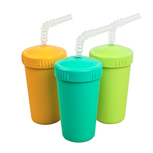 Re-Play Made in USA 3pk Straw Cups with Deep Sides for Easy Baby, Toddler, Child Feeding - Aqua, Sunny Yellow, Lime Green (Aqua Asst)