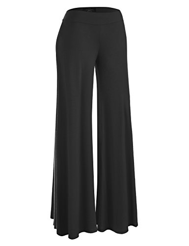 Made By Johnny WB1104 Womens Wide Leg Palazzo Lounge Pants M Black